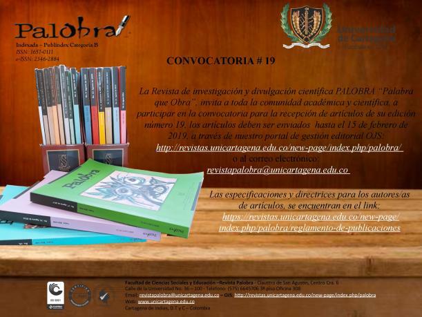 Convocatoria Revista Palobra, núm 19