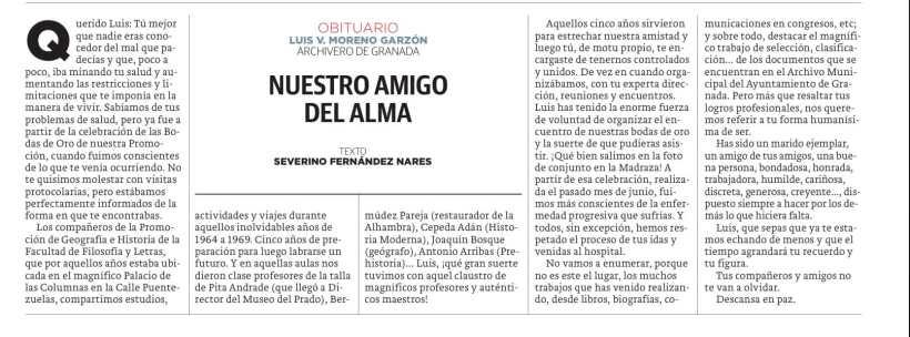 Obituario de Luis Moreno Garzón, por Severino Fernández Nares