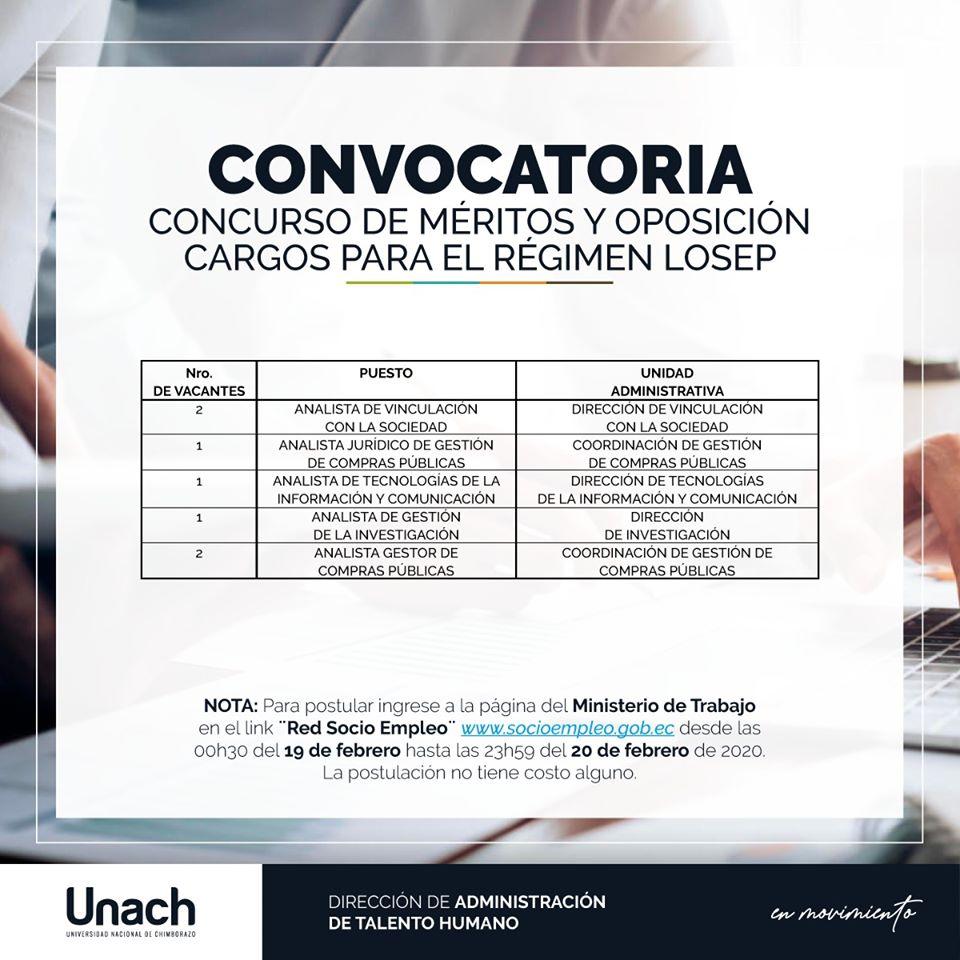 Convocatoria UNACH
